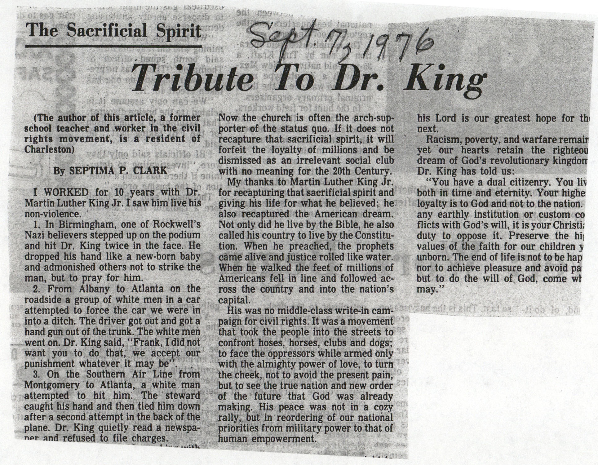 Newspaper Article, September 7, 1976