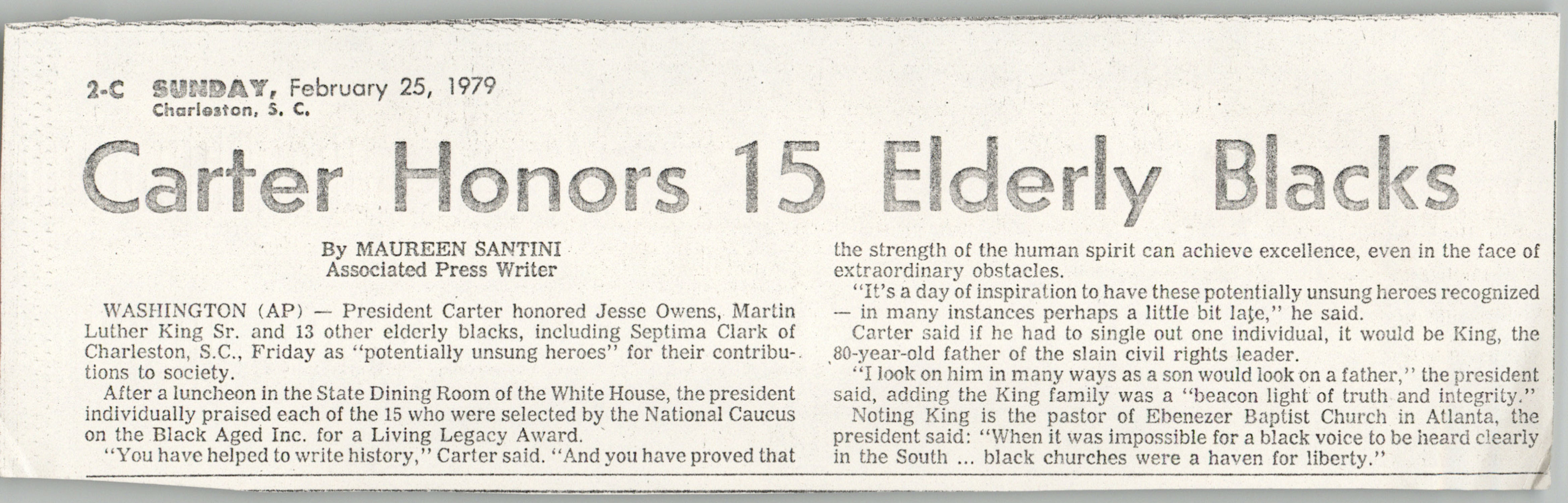 Newspaper Article, February 25, 1979