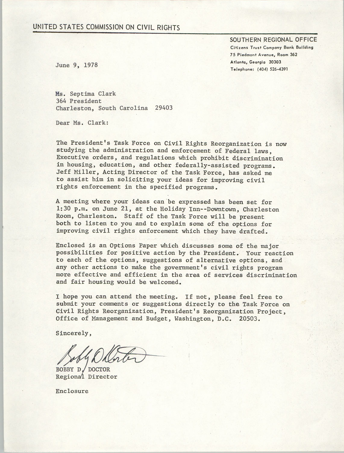Memorandum from Bobby D. Doctor to Septima P. Clark, June 9, 1978