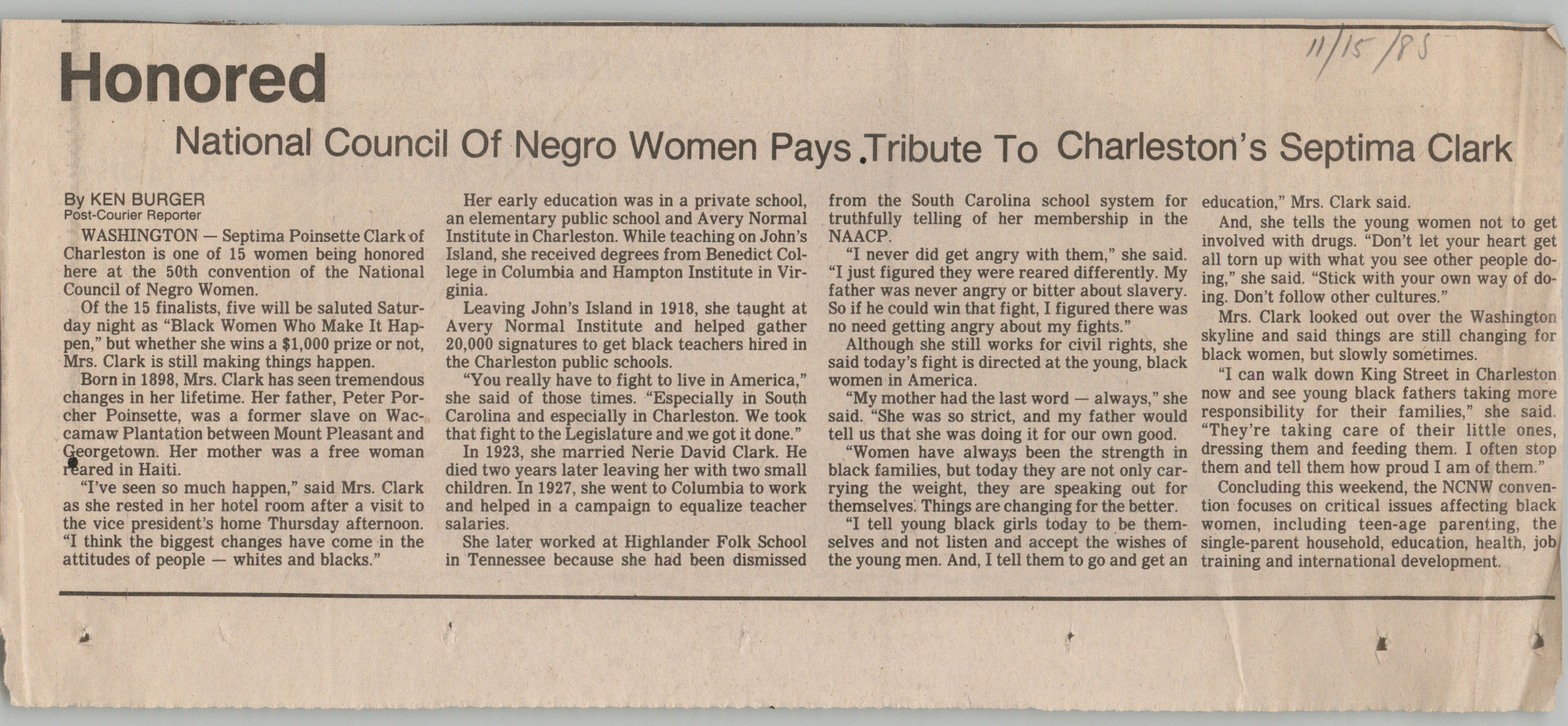 Newspaper Article, November 15, 1985