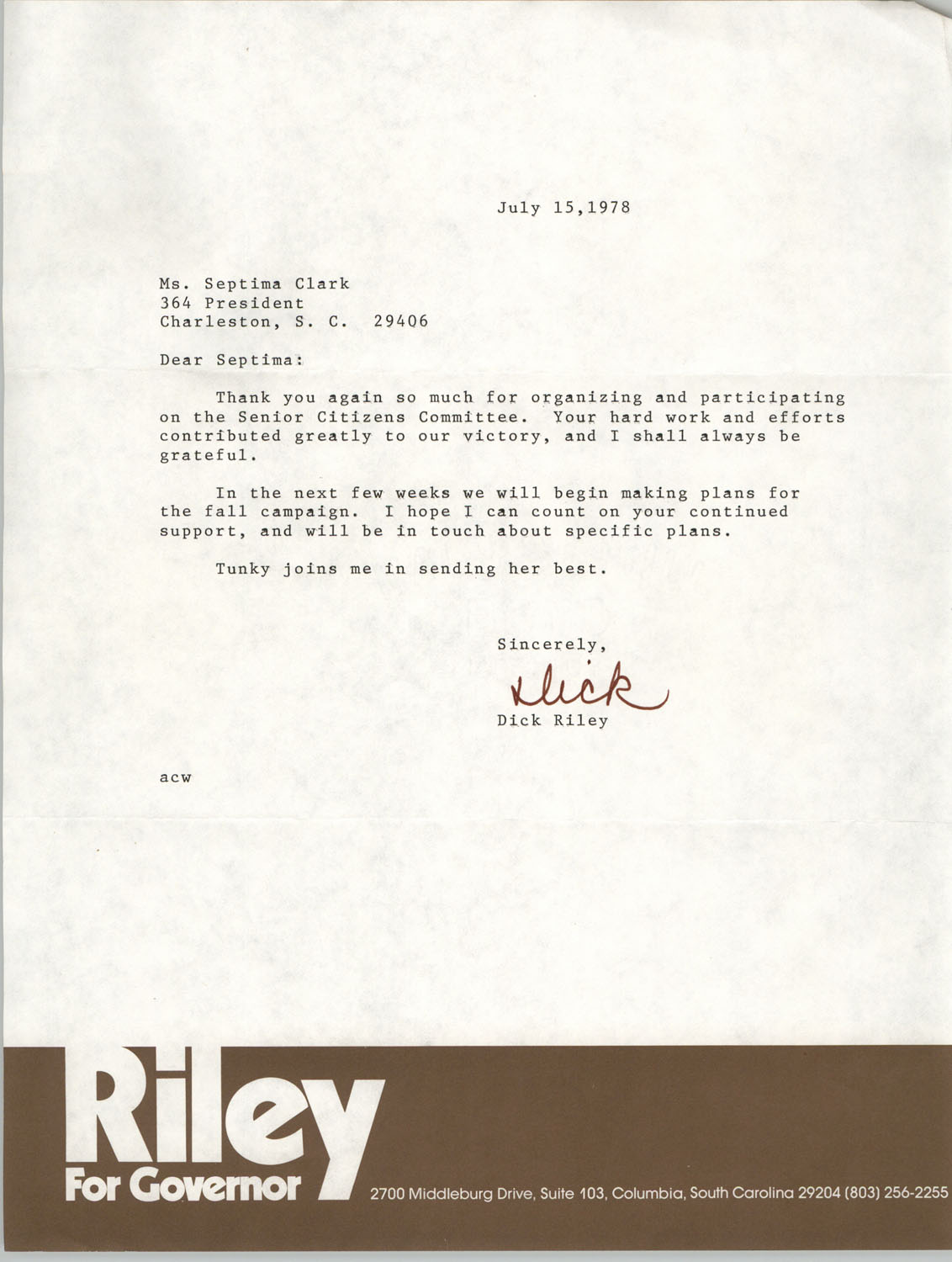Letter from Dick Riley to Septima P. Clark, July 15, 1978