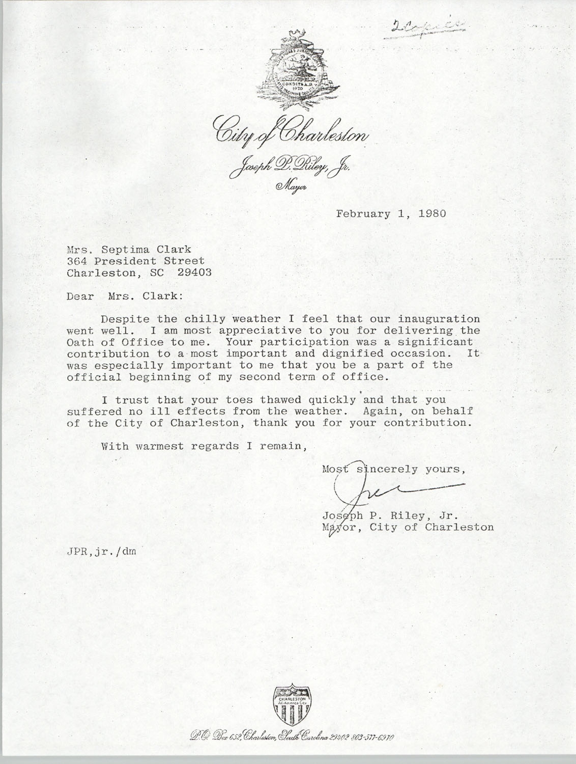 Letter from Joseph P. Riley to Septima P. Clark, February 1, 1980