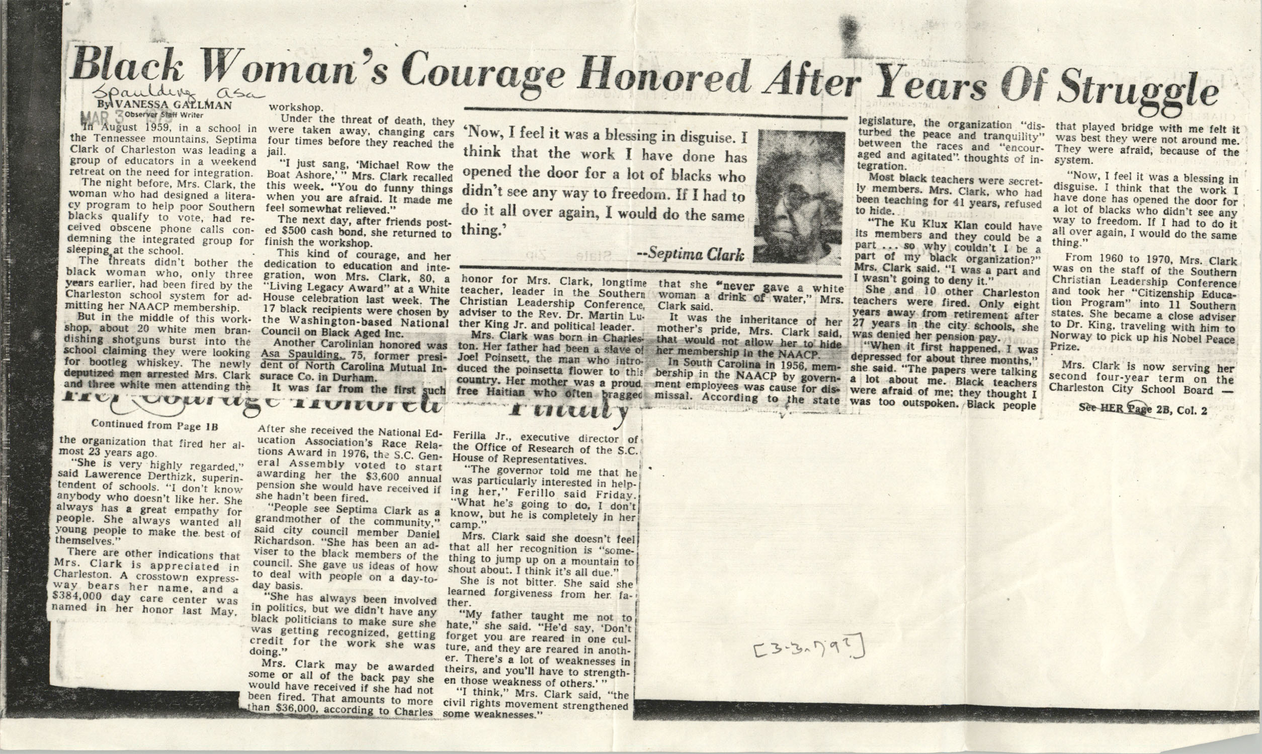 Newspaper Article, March 3, 1979