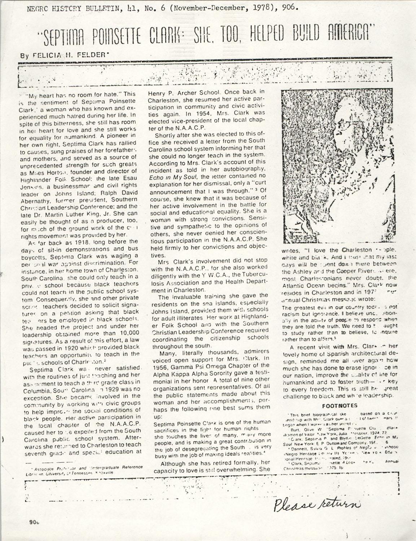 Newspaper Article, November-December 1978