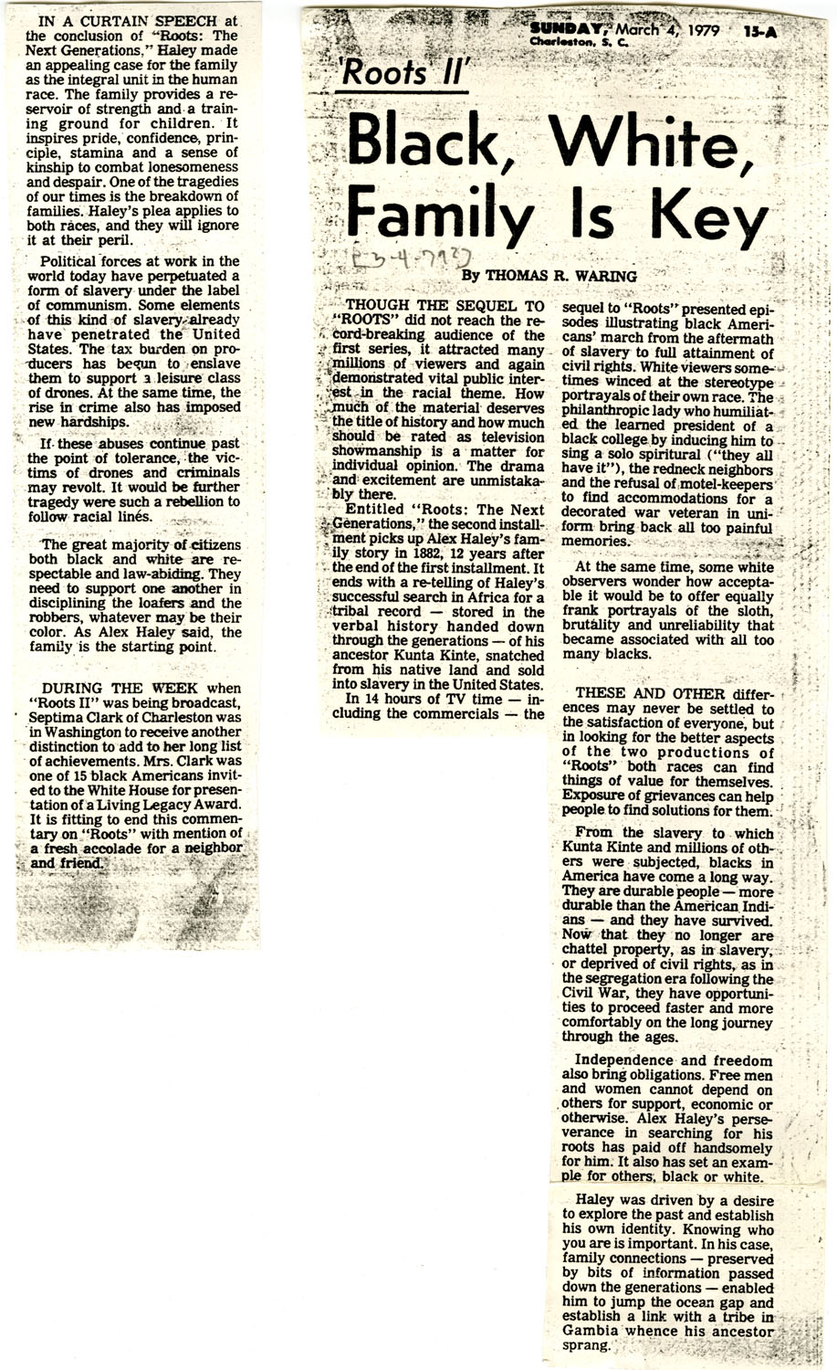 Newspaper Article, March 4, 1979