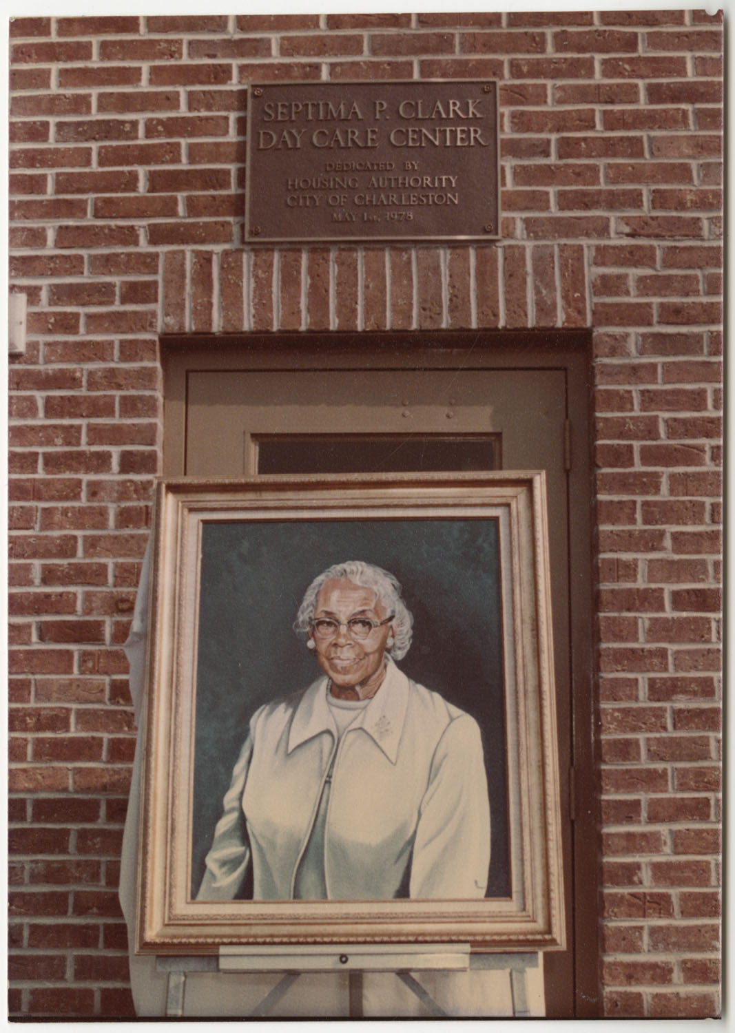 Septima P. Clark Portrait and Plaque, Septima P. Clark Day Care Center Ceremony, May 19, 1978