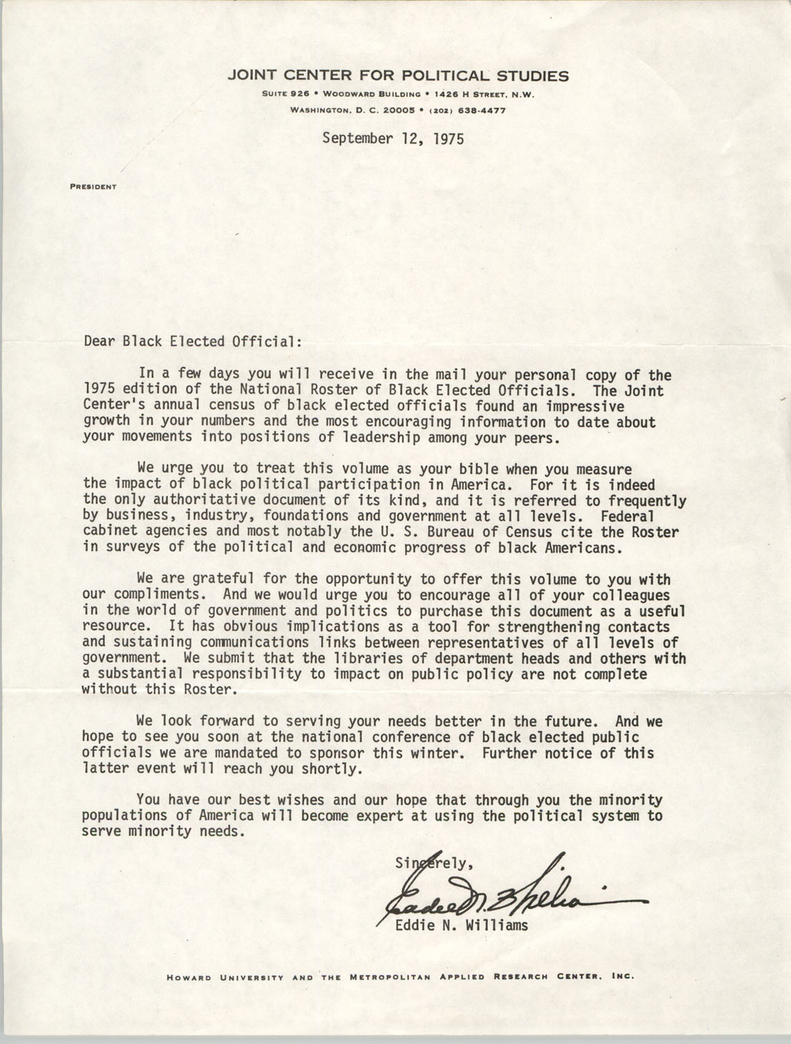 Letter from Eddie N. Williams to