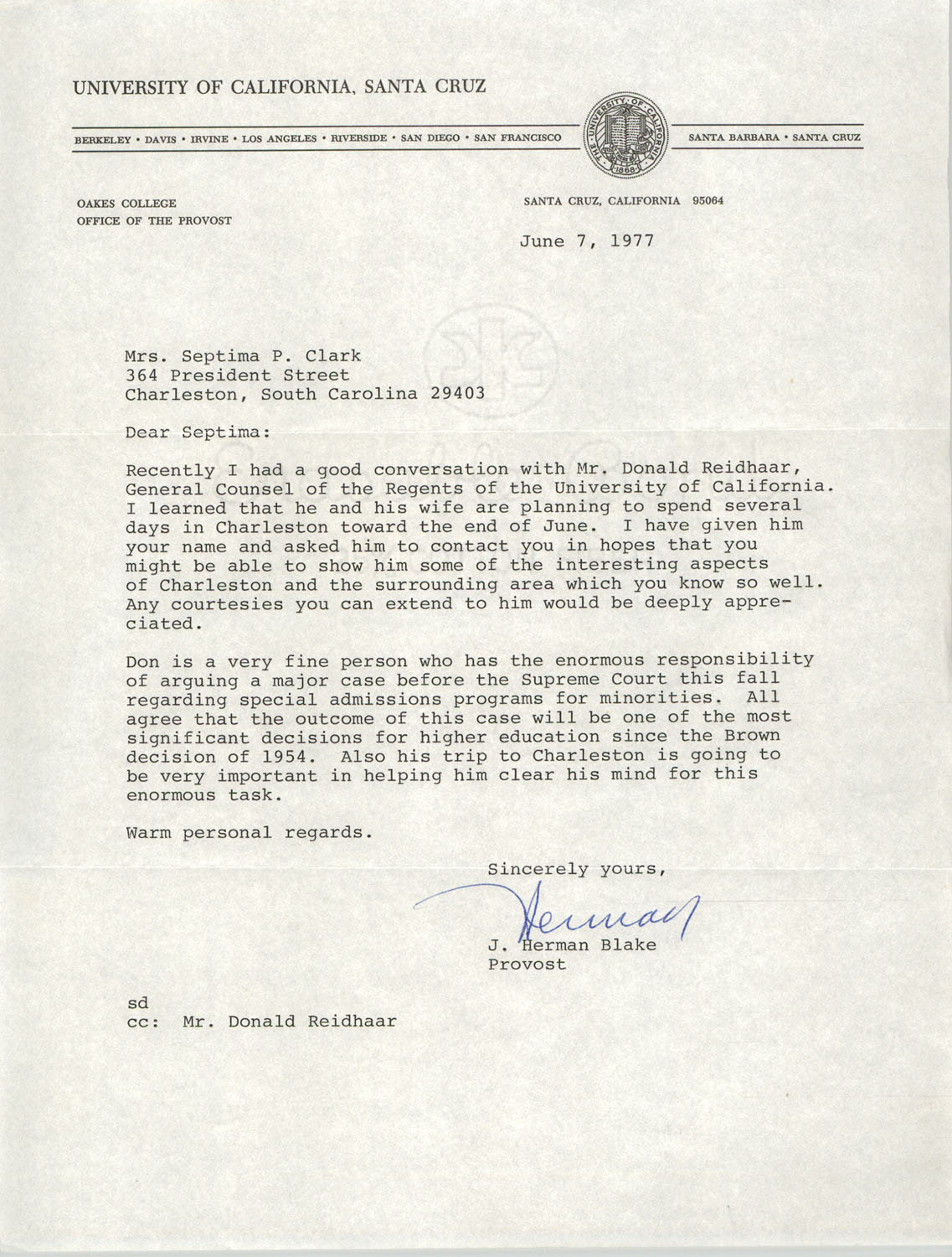 Letter from J. Herman Blake to Septima P. Clark, June 7, 1977