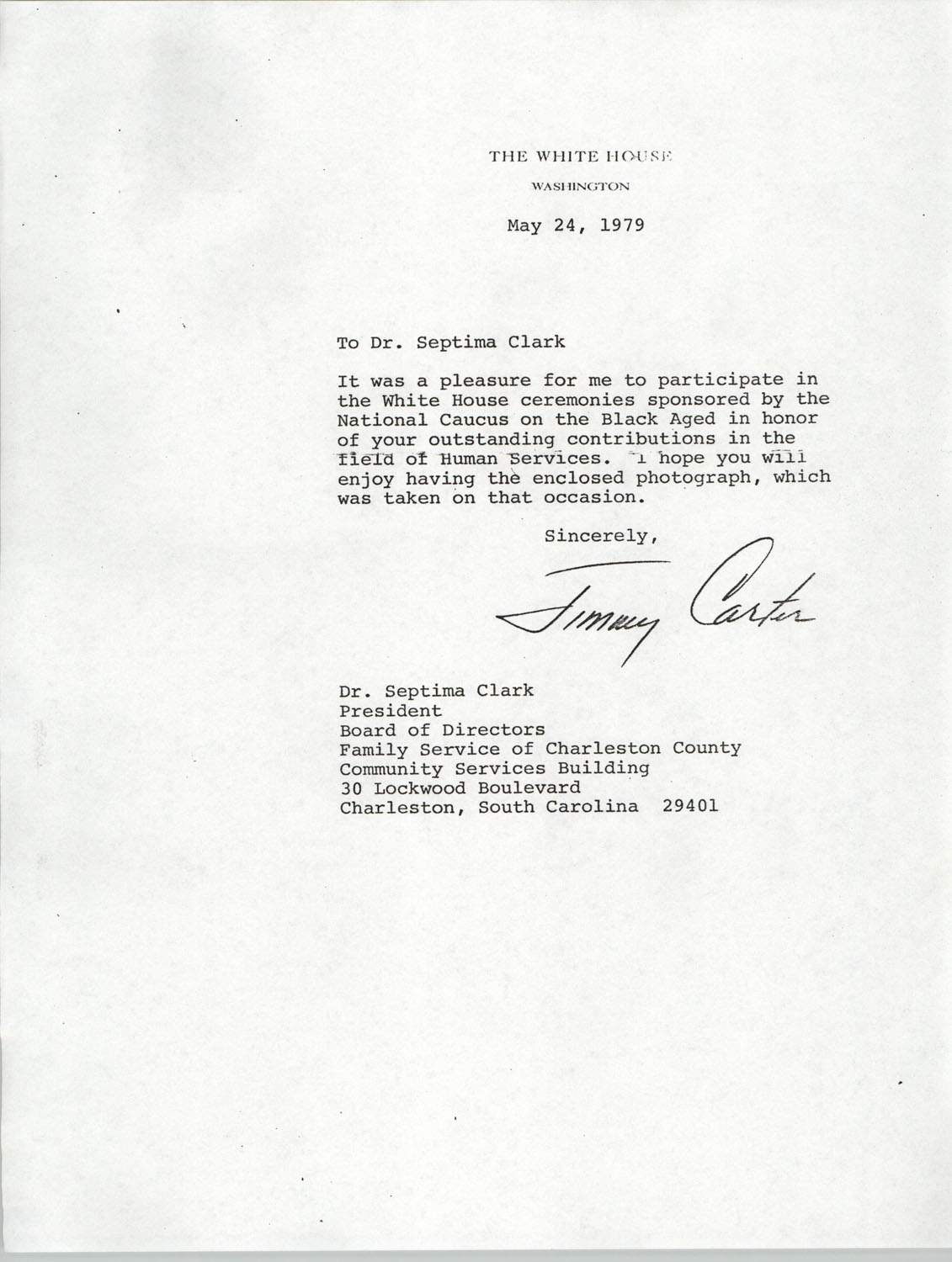 Letter from President Jimmy Carter to Septima P. Clark, May 24, 1979