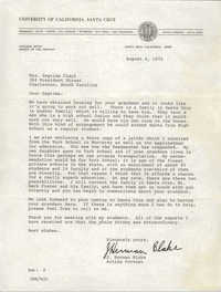 Letter from J. Herman Blake to Septima P. Clark, August 4, 1972