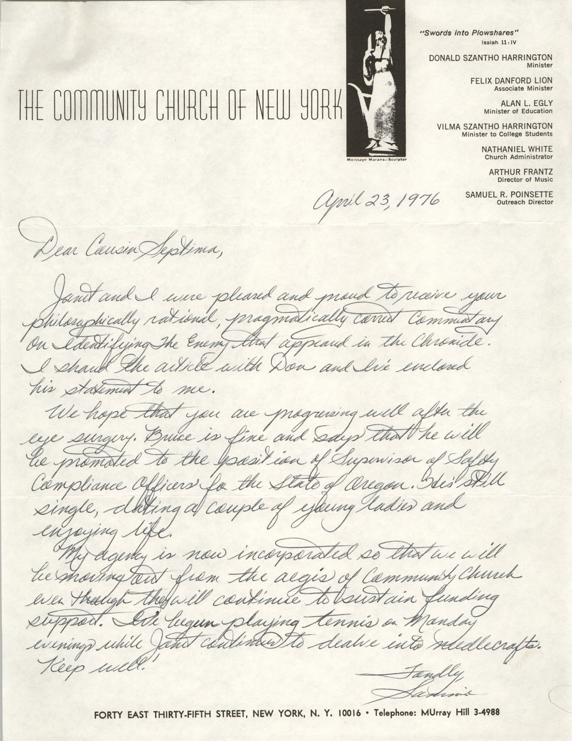 Letter from Samuel R. Poinsette to Septima P. Clark, April 23, 1976