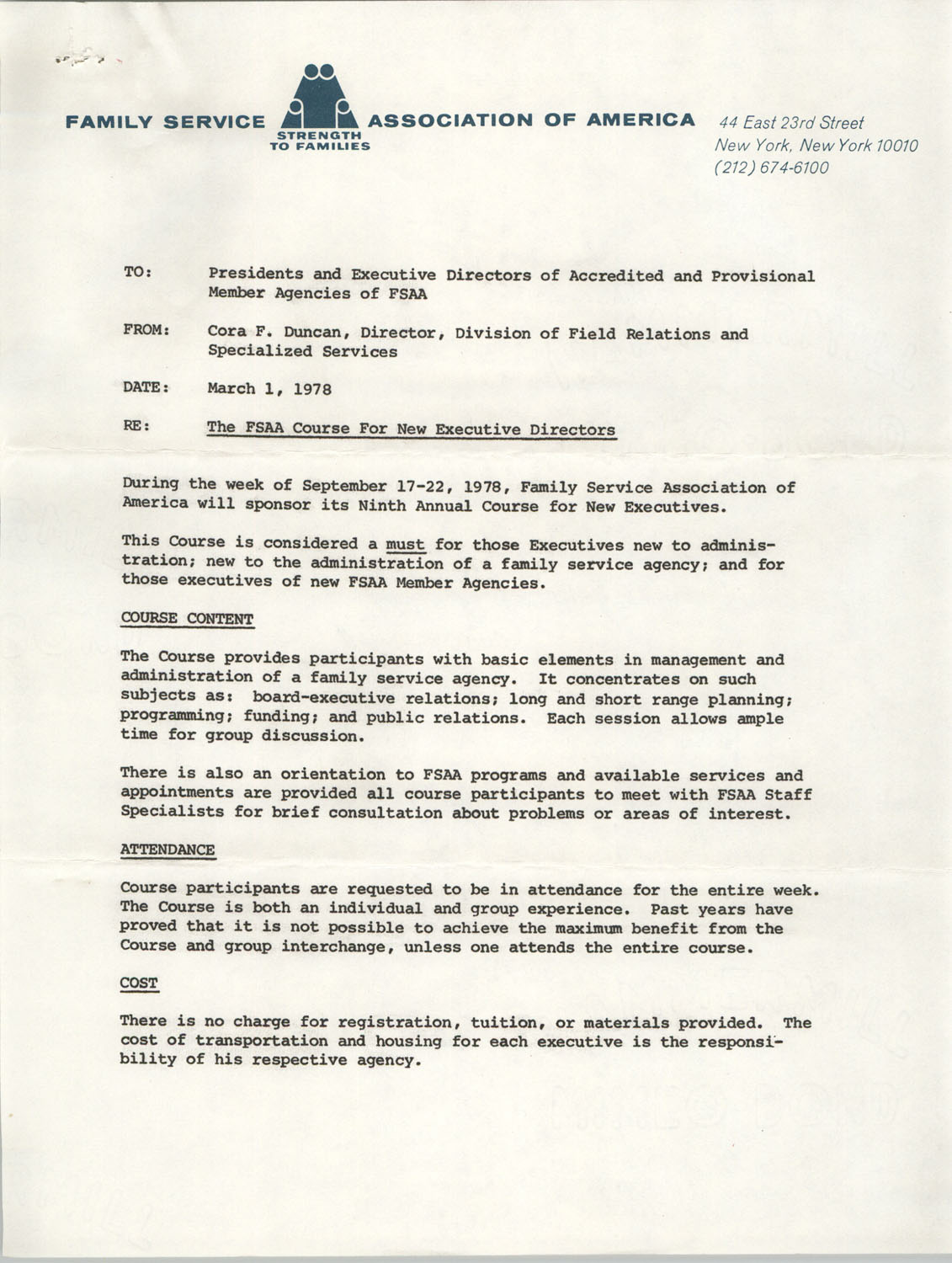 Memorandum from Cora F. Duncan to Presidents and Executive Directors of Accredited and Provisional Member Agencies of FSAA, March 1, 1978