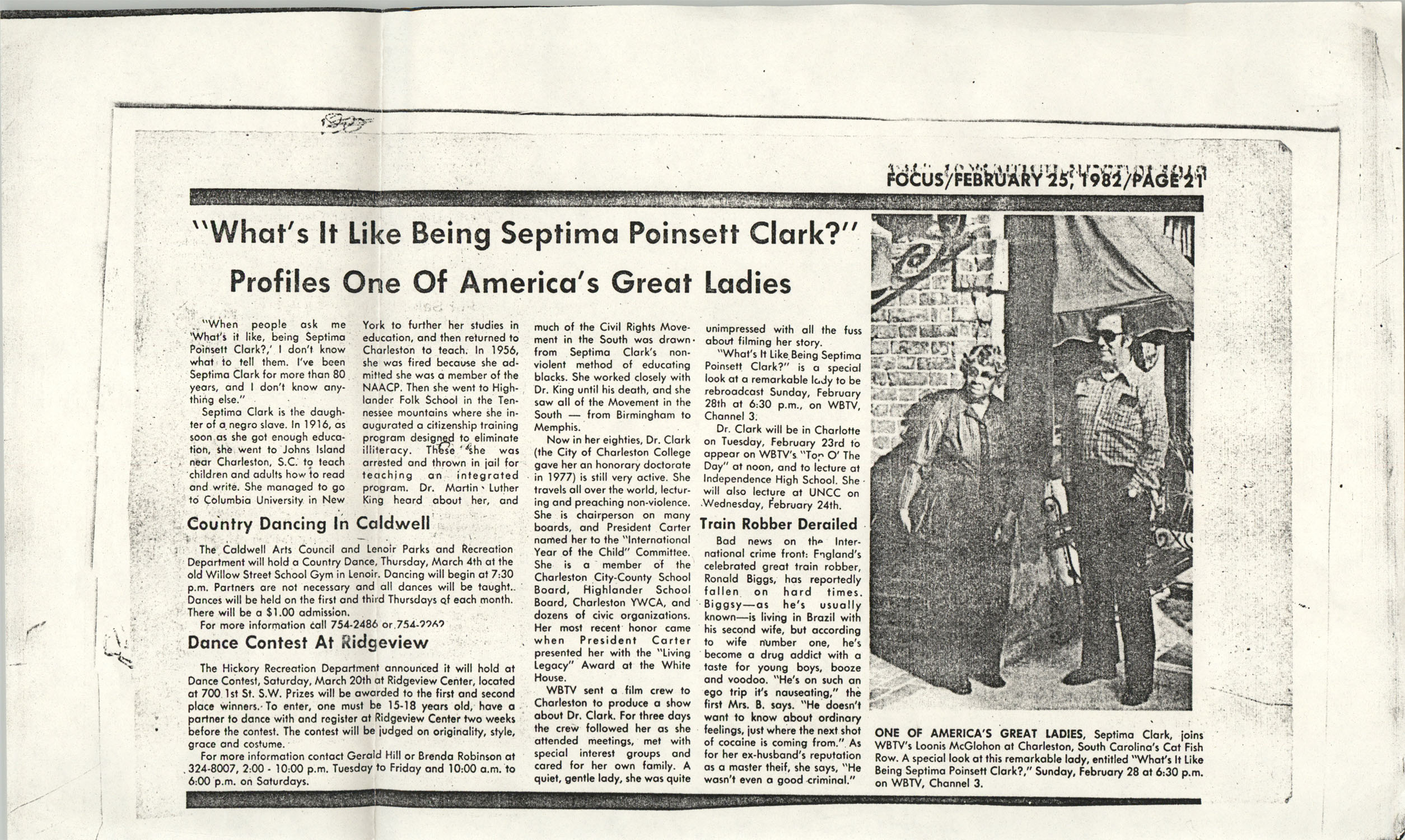 Newspaper Article, February 25, 1982