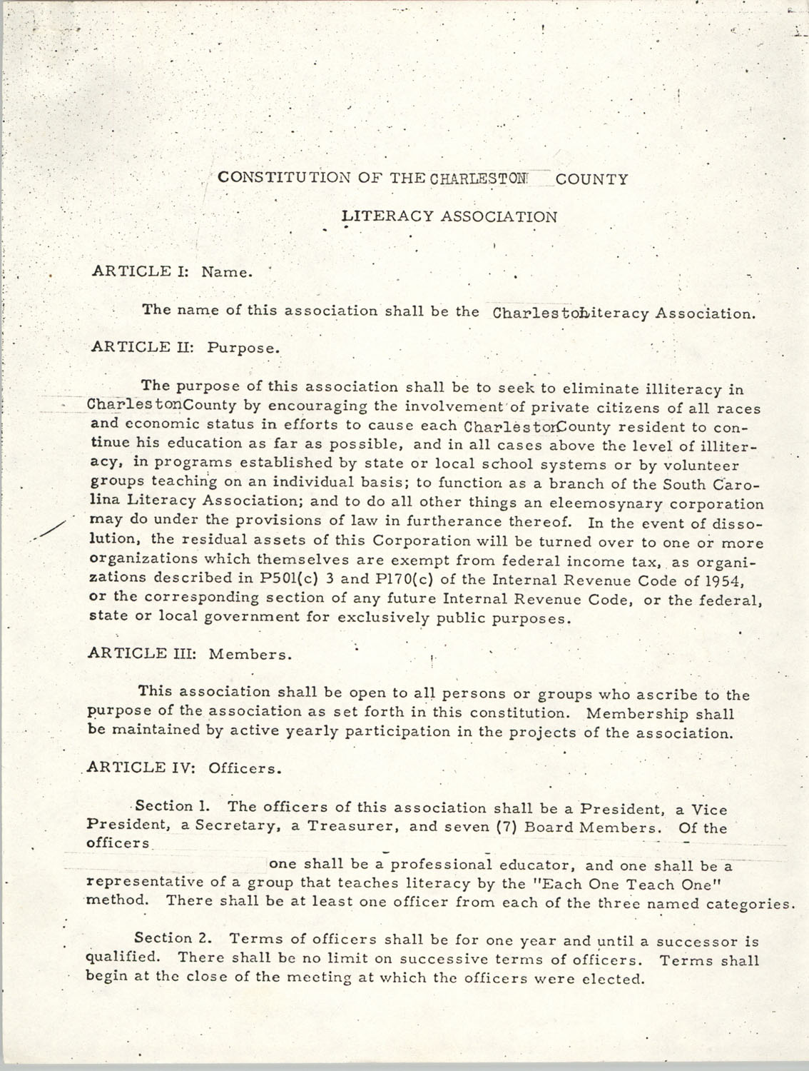 Constitution of the Charleston County Literacy Association