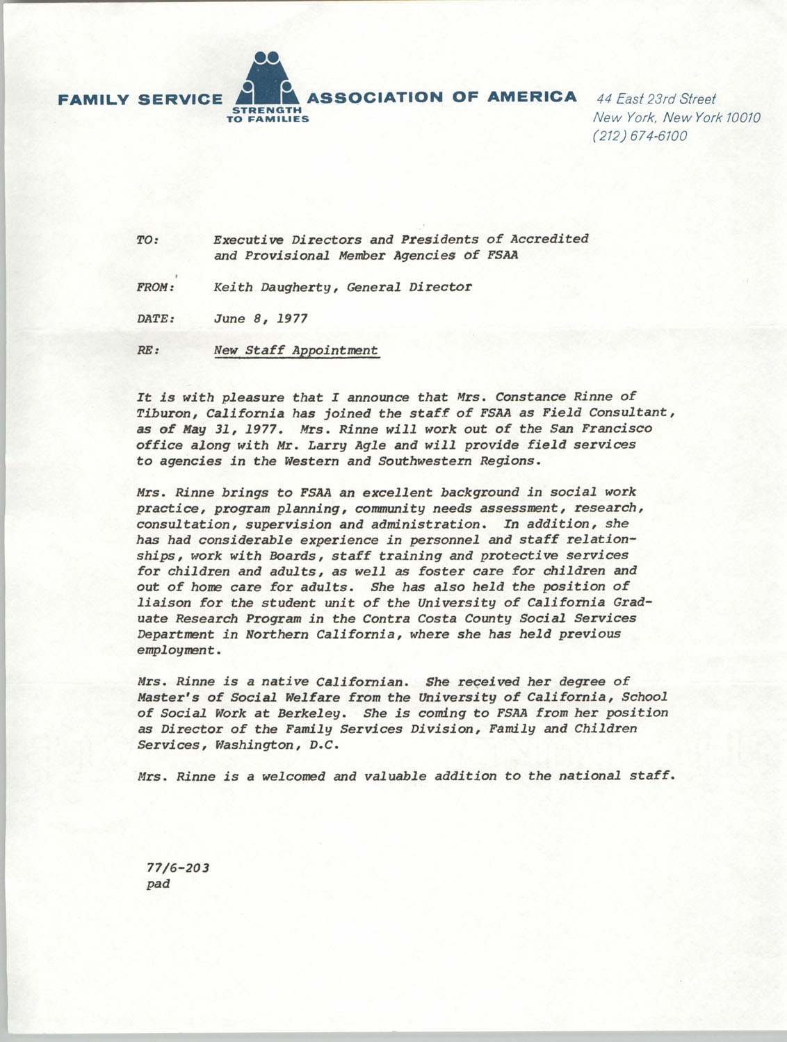 Memorandum from Keith Daugherty to Executive Directors and Presidents of Accredited and Provisional Member Agencies of Family Service Association of America, June 8, 1977