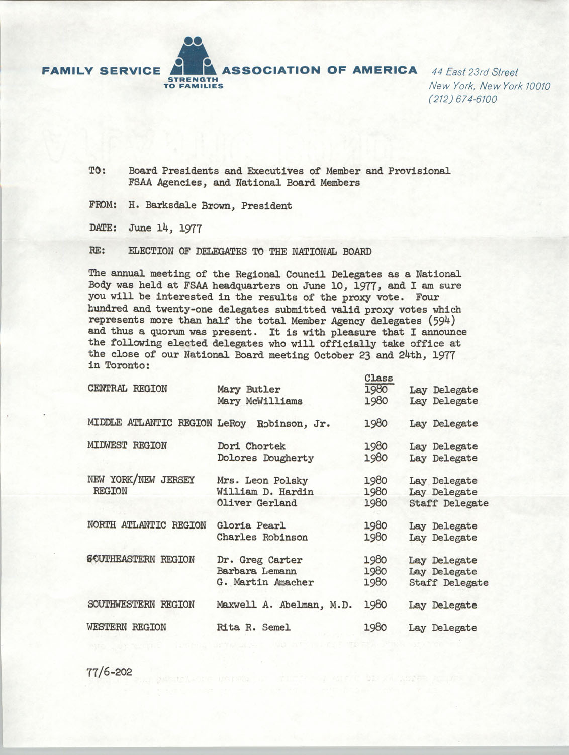 Memorandum from H. Barksdale Brown to Board Presidents and Executives of Member and Provisional FSAA Agencies, and National Board Members, June 14, 1977