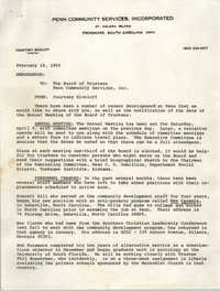 Memorandum from Penn Community Services Director to The Board of Trustees, February 18, 1969