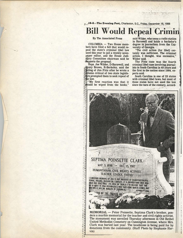 Newspaper Article, December 16, 1988
