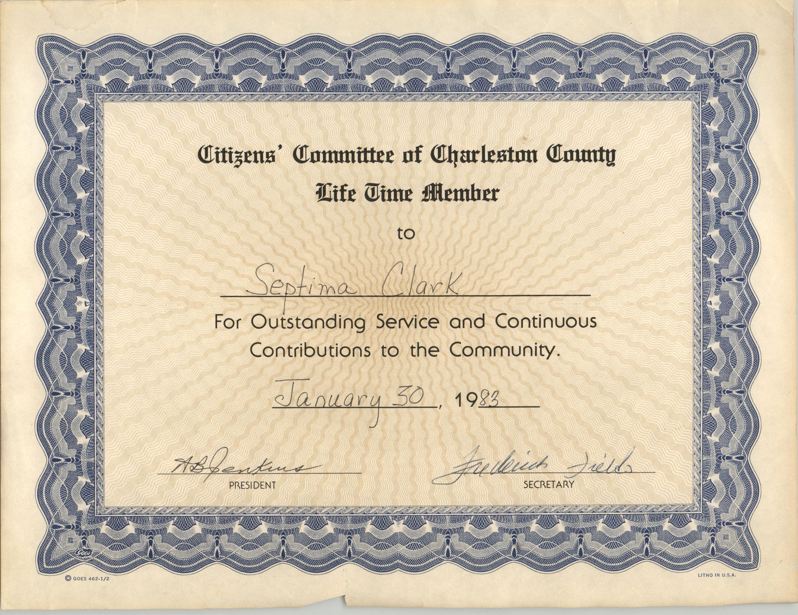 Certificate, January 30, 1983
