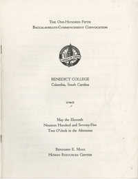 Commencement Program, Benedict College, May 11, 1975