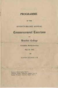Programme of the Seventy-Second Annual Commencement Exercises of Benedict College, May 26, 1942