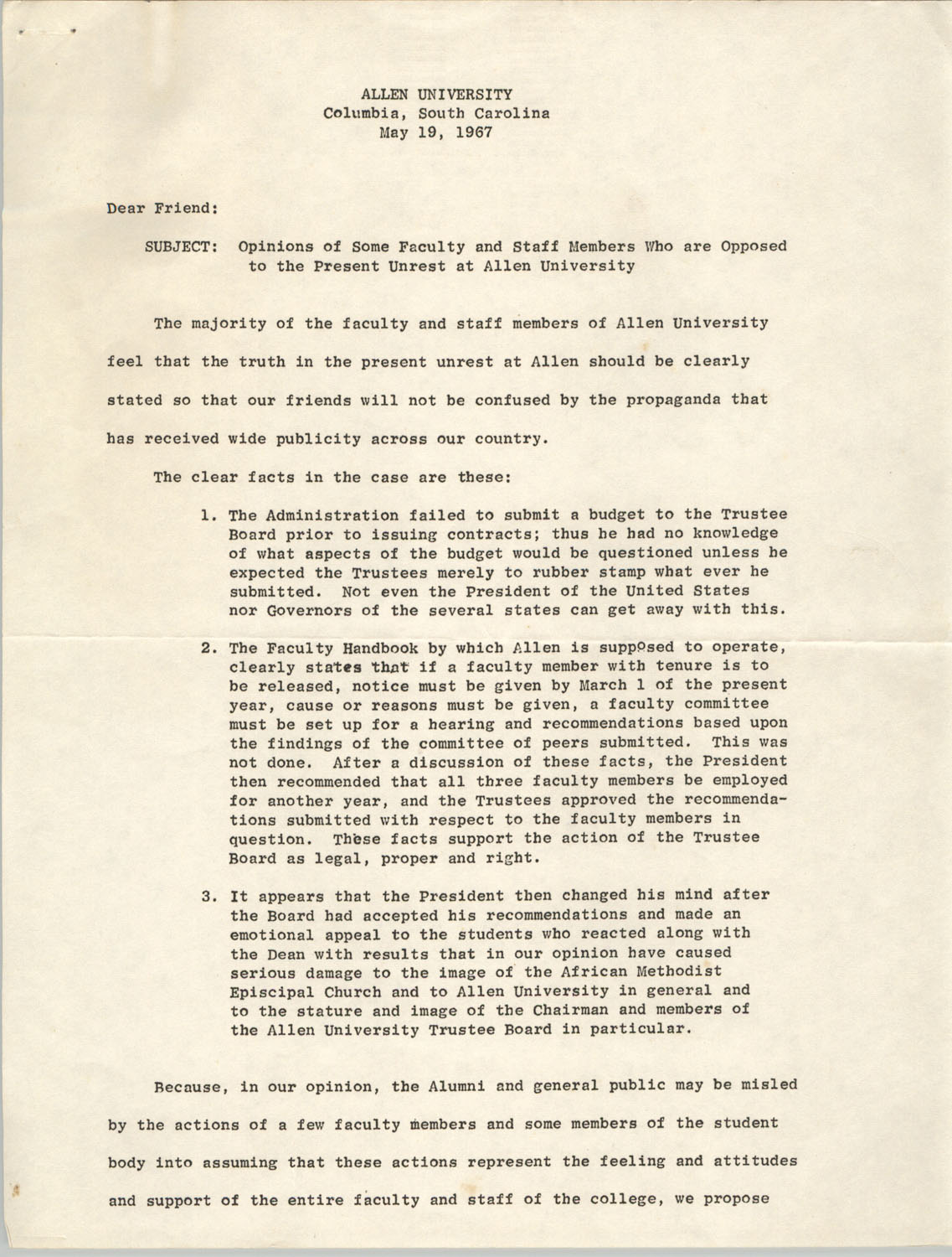 Letter from Allen University, May 19, 1967