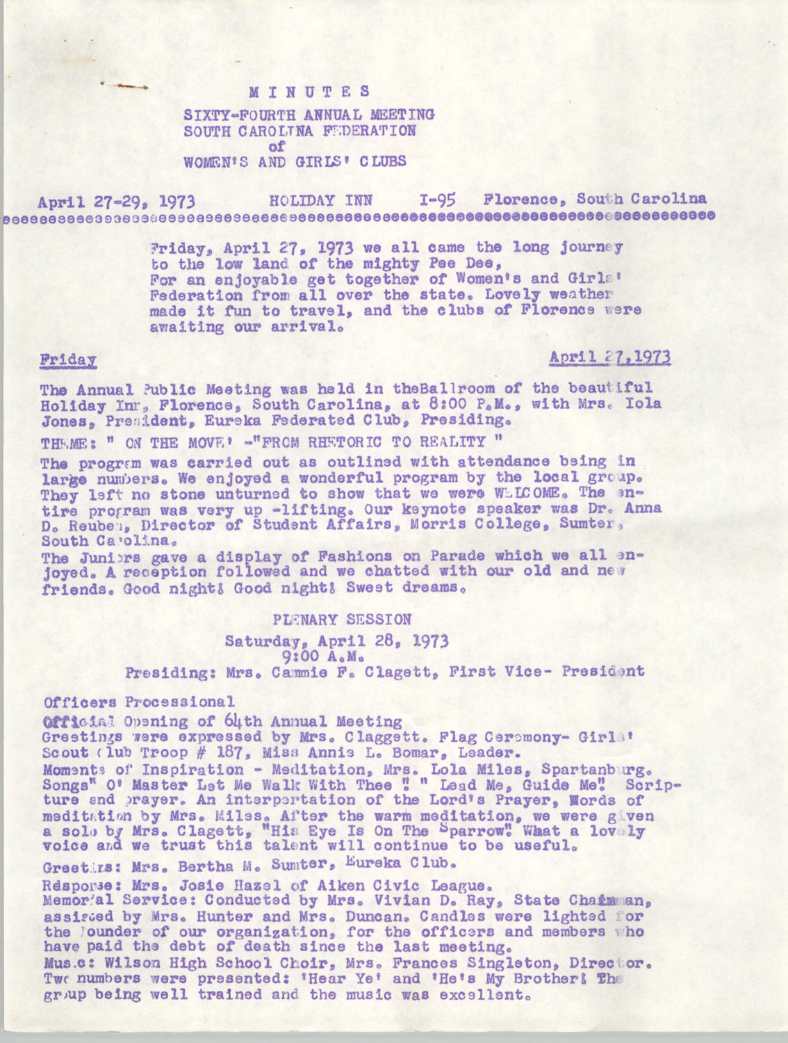 Minutes, South Carolina Federation of Women's and Girl's Clubs, April 27-29, 1973