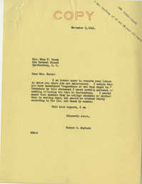 Teenage Draft: Correspondence between Nina Barry (Spartanburg, S.C.) to Senator Burnet R. Maybank, October 20, 1942