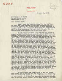 Teenage Draft: A letter from Benjamin A. Bolt (Lawyer, Greenville, S.C.) to Senator Ellison D. Smith, October 26, 1942