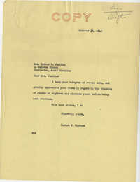 Teenage Draft: Correspondence between Esther W. Jenkins (Charleston, S.C.) to Senator Burnet R. Maybank, October 25, 1942