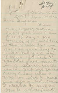 Teenage Draft: A Letter from a worried mother (Hartsville, S.C.) to Congress