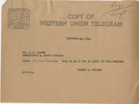 Teenage Draft: Correspondence between Mr. E. G. Craven (Bennettsville, S.C.) to Senator Burnet R. Maybank, November 10, 1942