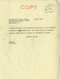 Santee-Cooper: Letters from Senator Burnet R. Maybank to Dr. Willard Long Thorp (Trustee of the Associated Gas and Electric Company) and Nat Turner, March 1, 1944