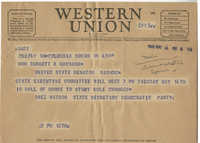 Democratic Committee: Telegram from Inez Watson (State Secretary of the Democratic Party) to Senator Burnet R. Maybank, May 14, 1944