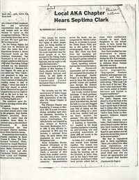 Newspaper Article, Septima P. Clark Speaks To Alpha Kappa Alpha Sorority