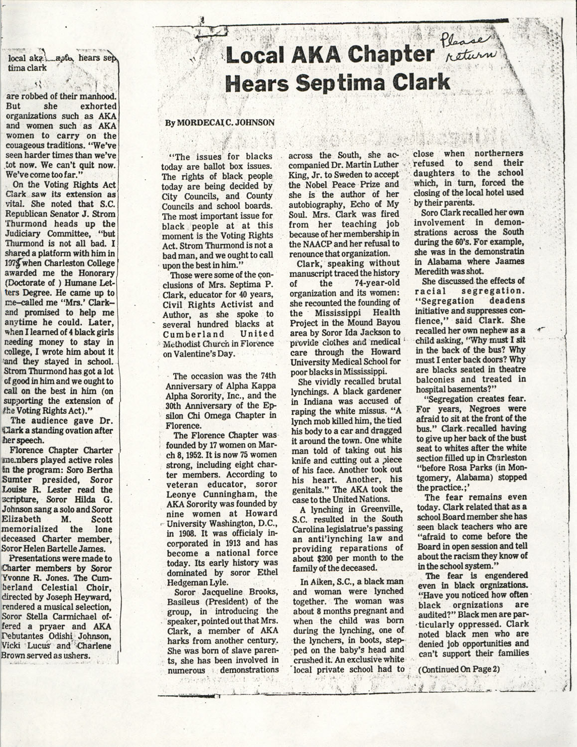 Newspaper Article, Septima P. Clark Speaks To Alpha Kappa Alpha Sorority