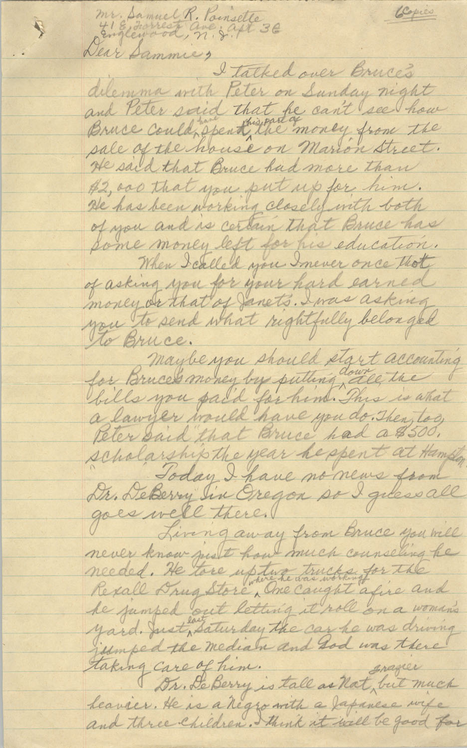 Letter from Septima P. Clark to Samuel R. Poinsette