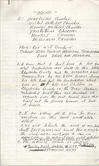 Memorandum from Rev. W. T. Goodwin to Churches, Esau Jenkins Memorial Scholarship Fund Drive and Memorial