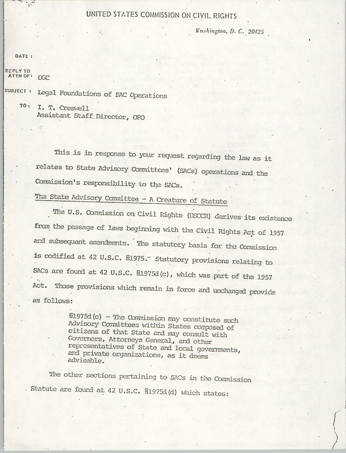 Memorandum from Lawrence B. Glick to I. T. Creswell, undated