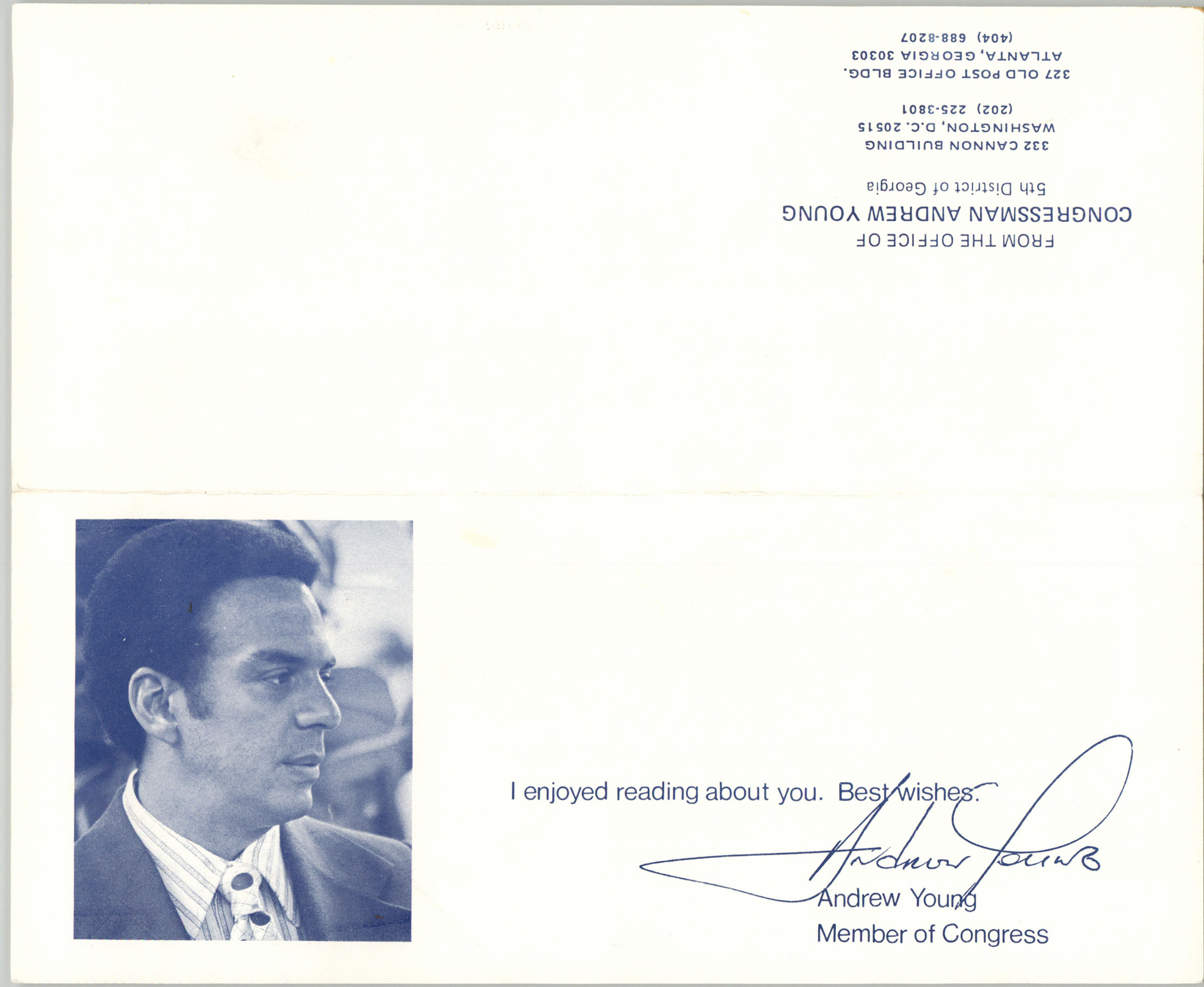 Letter from Congressman Andrew Young to Septima Clark