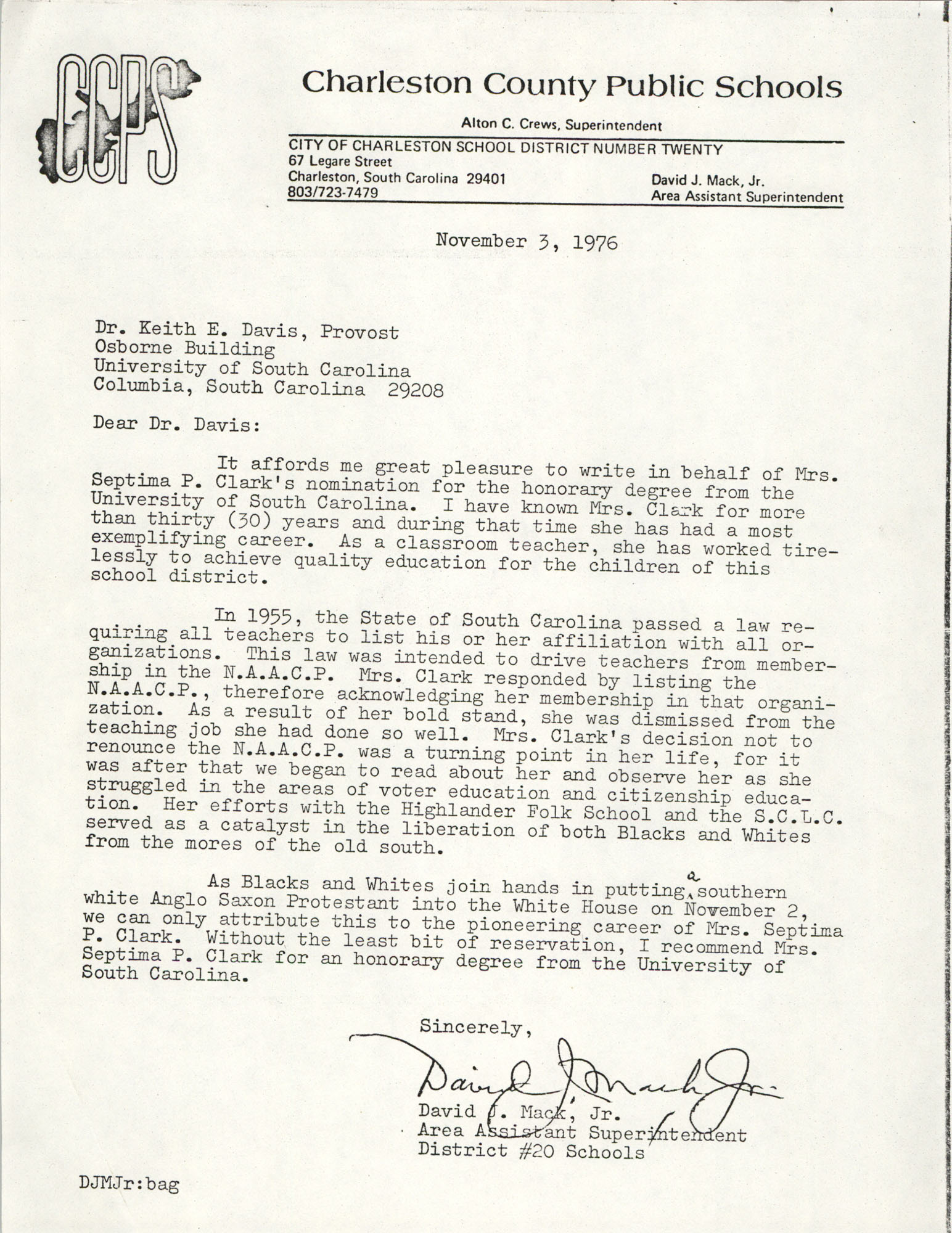Letter from David J. Mack, Jr. to Keith E. Davis, November 3, 1976