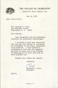 Letter from Theodore S. Stern to Septima P. Clark, May 24, 1978