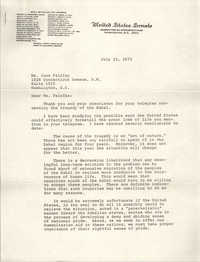 Letter from Edward W. Brooke to Jean Fairfax, July 23, 1973