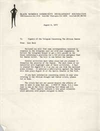 Letter from Inez Reid to Signers of the Telegram Concerning The African Famine, August 6, 1973
