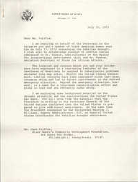 Letter from John A. Linehan to Jean Fairfax, July 25, 1973