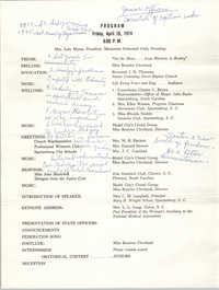 Program, Marianette Federated Club, April 26, 1974