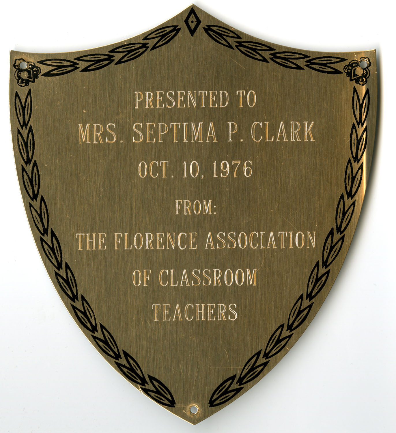 Plaque, October 10, 1976