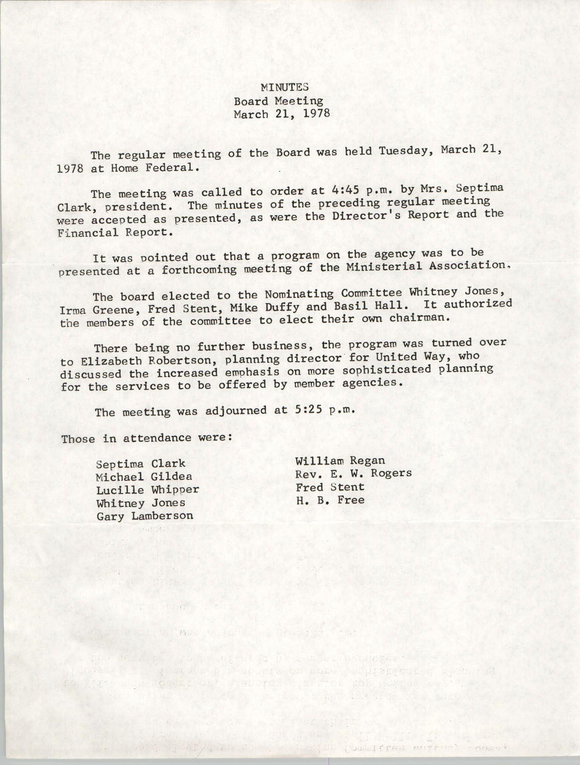 Minutes, Board Meeting, March 21, 1978