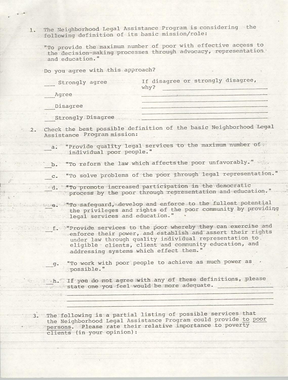 Questionnaire, Neighborhood Legal Assistance Program