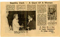 Newspaper Article, Biography of Septima P. Clark